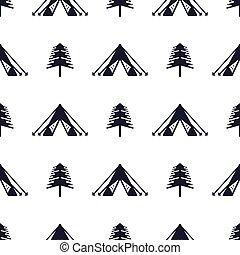 tente, et, arbre, seamless, pattern., silhouette, affligé, style., aventure extérieure, équipement, papier peint, arrière-plan., stockage, vecteur, illustration, isolé, blanc