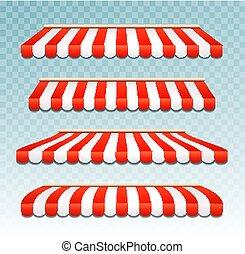 tente, magasin, rue, rouges, restaurant, vue., canopy., ou, rayé, devant, toit, café, marquise, parapluie, magasin, épicerie