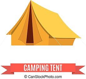 tente, vecteur, camping, icon.
