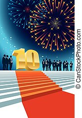 Tenth anniversary - Colorful crowd of businesspeople...