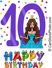 tenth birthday cartoon design