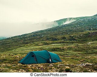 Tenting in the Norwegian highland mountain