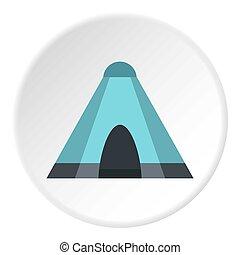 tentje, cirkel, blauwe , pictogram