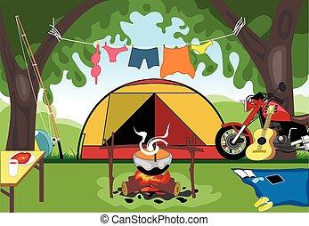 tentje, dag, kamperen, viering