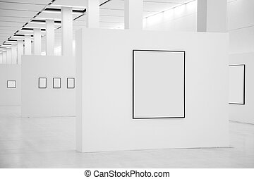 tentoonstelling, zaal, met, lijstjes