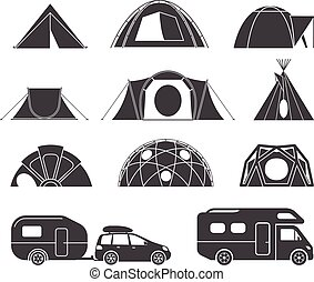 Tents and caravans for camping in the nature