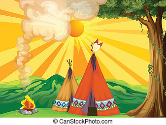 Illustration of tents in the woods