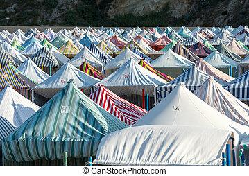 Tents on the beach, Nazarè (Portugal)