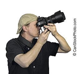 tenu, hommes, appareil photo, mains