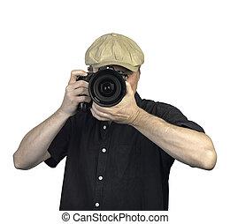 tenu, mains, hommes, appareil photo