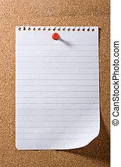 tenu, noter papier, poteau-il, vide, rouges, pushpin.