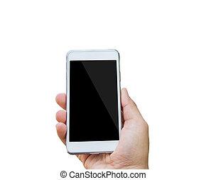 tenue, écran, isolé, main, téléphone, femelle noire