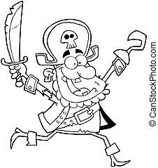 tenue, épée, haut, esquissé, pirate