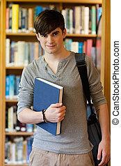 tenue, étudiant, livre, jeune