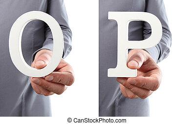 tenue, alphabet, isolé, o, p, fond, mains, lettre, blanc