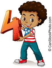 tenue, américain, quatre, nombre, math, garçon