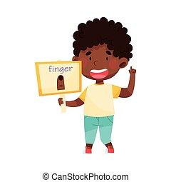 tenue, américain, vecteur, doigt, flashcard, image, caractère, garçon, illustration, africaine, mignon