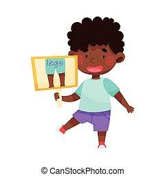 tenue, américain, vecteur, jambes, flashcard, image, caractère, garçon, illustration, africaine, mignon