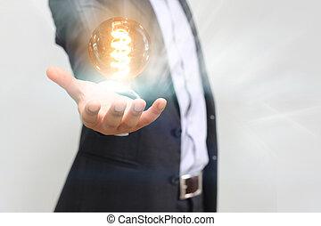 tenue, ampoule, lumière, idée, main, concept