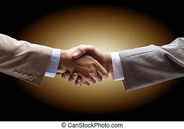 tenue, arrière-plan noir, -, poignée main, main