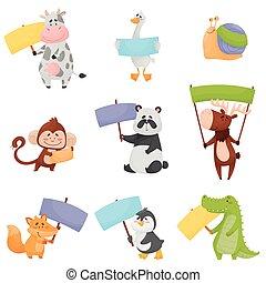 tenue, bannières, coloré, vecteur, animaux, vide, illustrations, dessin animé, ensemble, mignon