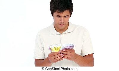 tenue, billets banque, homme, paquet