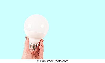 tenue, blanc, lumière, mat, fond, femme, ampoule, grand, bleu, main