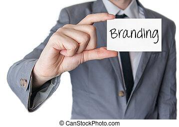 tenue, branding., business, homme affaires, carte