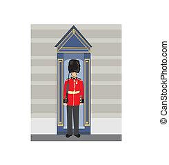 tenue, britannique, royal, fusil, guardsman
