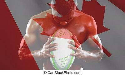 tenue, canadien, cris, muscled, homme, drapeau, balle