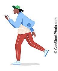tenue, caractère, homme, téléphone., mobile, mâle