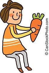tenue, carotte, vue, garçon, côté