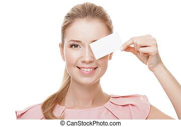 tenue, carte, isolated., copie, beau, space., blanc, femme