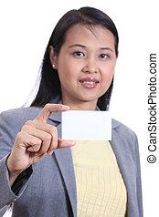 tenue, carte, vide, isolé, business, nom, blanc, femme, arrière-plan.