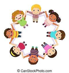 tenue, cercle, mains, enfants