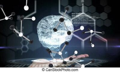 tenue, cerveau, numérique, molécule, homme, tomber