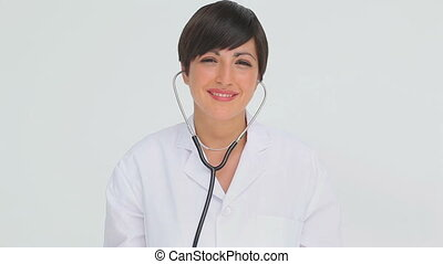 tenue, chestpiece, docteur, stéthoscope