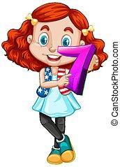 tenue, cheveux, mignon, girl, math, nombre, rouges, sept