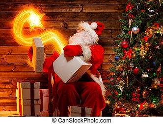 tenue, claus, bois, magie, santa, il, cadeau, étoile, boîte...