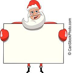 tenue, claus, isolé, signe, santa, vide, panneau affichage, blanc, dessin animé