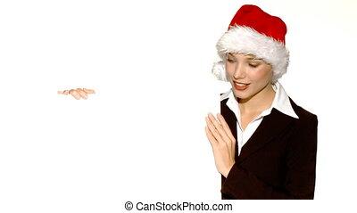 tenue, claus, planche, santa, girl, chapeau, vide
