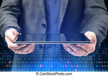 tenue, code., binaire, homme affaires, tablette
