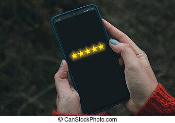 tenue, concept, client, téléphone, screen., main, intelligent, expérience