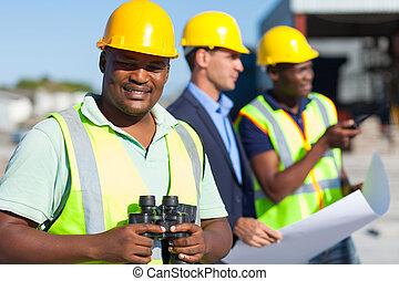 tenue, construction, jumelles, africaine, ouvrier
