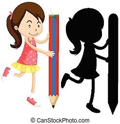 tenue, couleur, girl, silhouette, crayon