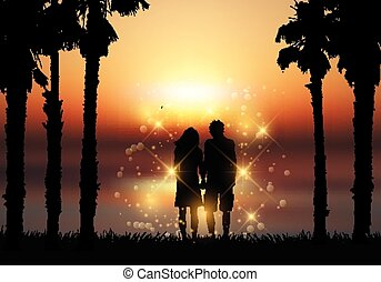 tenue, couple, contre, coucher soleil, fond, mains