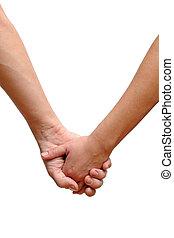 tenue, couple, isolé, fond, mains, blanc