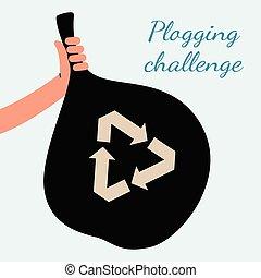 tenue, déchets ménagers, recyclage, main, noir, plogging, défi, -, affiche, sac, symbole