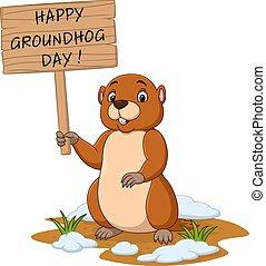 tenue, day., heureux, marmotte amérique, signe, rigolote, bois