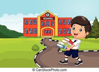 tenue, dessin animé, garçon, tas, livres
